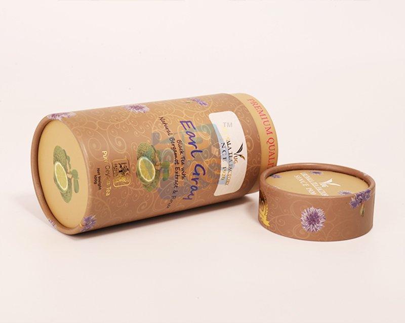 brown tea paper tube packaging